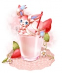 alice0701 ambiguous_gender beverage blue_eyes cup cute eeveelution fangs feral food fruit glass hair_bow hair_ribbon hi_res in_beverage in_container in_cup in_food mammal micro milkshake nintendo on_food pokémon pokémon_(species) ribbons solo straw strawberry sylveon video_games