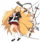 animal_humanoid blonde_hair canine female fox fox_humanoid hair humanoid knife looking_at_viewer mace mammal melee_weapon monster_girl_(genre) multi_tail multi_wielding official_art polearm prehensile_tail red_eyes scythe senran_kagura solo sword unknown_artist weapon