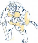 anthro breasts clothing feline female hair jintonic mammal melee_weapon muscular muscular_female shield slit_pupils solo standing sword teeth_bared thick_thighs tiger torn_clothing weaponRating: SafeScore: 2User: Cat-in-FlightDate: February 19, 2018