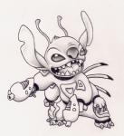 2004 4_arms 4_fingers alien antennae back_spines claws clothed clothing dipstick_antennae disney dual_wielding experiment_(species) fur greyscale head_tuft holding_object holding_weapon lilo_and_stitch monochrome multi_arm multi_limb notched_ear open_mouth open_smile pencil_(artwork) plasma_blaster plasma_gun ribera simple_background smile solo spacesuit squint standing stitch toe_claws traditional_media_(artwork) tuft weapon white_background