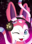 anglo blue_eyes bow cute cute_fangs eeveelution fangs female feral fur headphones low_res nintendo one_eye_closed open_mouth pink_fur pokémon pokémon_(species) ribbons simple_background solo sylveon video_games white_fur wink
