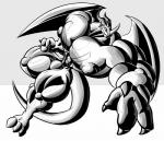 abdomen digimon dragmon dragon exveemon male muscular muscular_male nipples pecs xvmon