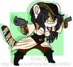 anthro big_eyes chibi clothed clothing dtalvi feline female gun handgun mammal pirate_outfit pistol ranged_weapon smile solo standing weapon