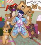 anthro bdsm blue_fur bondage bound canine detailed_background diaper dog fur harness hi_res husky looking_at_viewer male mammal solo teddy_bear toyification wenRating: SafeScore: 5User: Wumbl3Date: February 15, 2017