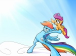 2013 4:3 averagedraw blue_feathers blue_fur cloud cloudscape cub cutie_mark duo equine feathered_wings feathers female feral friendship_is_magic fur grin hair looking_away mammal multicolored_hair multicolored_tail my_little_pony orange_fur outside pegasus purple_eyes purple_hair rainbow_dash_(mlp) rainbow_hair rainbow_tail scootaloo_(mlp) short_hair sky smile throwing wing_boner wings young