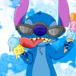 2013 4_fingers abstract_background alien blue_claws blue_fur blue_nose chest_tuft claws dessert digital_drawing_(artwork) digital_media_(artwork) disney experiment_(species) eyewear food fur harara head_tuft holding_food holding_object ice_cream ice_cream_cone licking lilo_and_stitch notched_ear open_mouth open_smile smile solo stitch sunglasses tongue tongue_out tuft