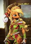 2017 anthro anthrofied applejack_(mlp) assasinmonkey clothing cowboy_hat equine female friendship_is_magic gloves hat horse mammal my_little_pony pony solo