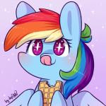 2017 bite blush bust_portrait chibi cute dsp2003 eating equine eyelashes feathered_wings feathers female feral food friendship_is_magic hair holding_food holding_object mammal multicolored_hair my_little_pony nude pegasus portrait purple_background purple_eyes rainbow_dash_(mlp) rainbow_hair signature simple_background smile solo sparkles text tongue tongue_out waffle wingsRating: SafeScore: 13User: GlimGlamDate: January 29, 2018