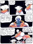 2016 aftertale animated_skeleton blood bone brother clothing comic geno_sans_(aftertale) humanoid loverofpiggies male not_furry papyrus_(undertale) sibling skeleton speech_bubble text undead undertale video_games