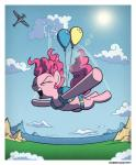 2016 aircraft airplane balloon border equine eyes_closed female feral friendship_is_magic hair hi_res horse mammal my_little_pony open_mouth open_smile outside pink_hair pinkie_pie_(mlp) pony skydiving smile solo sun wandrevieira1994 white_border