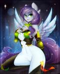 anthro armor breasts equine eyelashes fan_character feathered_wings feathers featureless_crotch fur green_eyes grey_feathers grey_fur hi_res kneeling koveliana mammal my_little_pony pegasus smile wide_hips wings