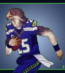 amber_eyes american_football anthro augur_buzzard avian ball beak bird buzzard clothed clothing football_(ball) football_uniform fully_clothed green_outline hi_res holding_ball male nfl nike seattle_seahawks solo sport towel uniform wristband zarnala