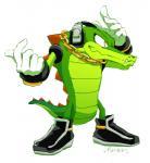 anthro chain clothing crocodile crocodilian footwear gloves hal_(pixiv) headphones male reptile scalie signature simple_background solo sonic_(series) vector_the_crocodile video_gamesRating: SafeScore: 2User: Cane751Date: April 17, 2018