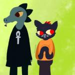 anthro bea_(nitw) cat cigar clothing crocodile crocodilian duo feline female fur ivysaurite mae_(nitw) mammal night_in_the_woods reptile scalie smoke