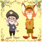 3_toes absurd_res anthro badge canine clothed clothing costume dipstick_ears disney duo eyelashes female fox fur green_eyes hat hi_res judy_hopps lagomorph male mammal nick_wilde open_mouth open_smile pikaristar pink_nose purple_eyes rabbit raised_arm simple_background smile standing toes yellow_background young zootopia