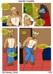 anthro canine clothed clothing colonel_klink comic dog hi_res male male/male mammal simple_background topless wolf