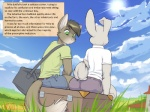 4:3 anthro building butt cat clothed clothing cloud comic duo english_text faf feline grass green_eyes house lagomorph male mammal mark_sanders milo_(catastrophe) outside rabbit sitting sky suitcase sun text