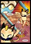 2018 absurd_res ambiguous_gender beach comic dialogue digital_media_(artwork) english_text feral fur hi_res male mammal meowth nintendo omastar pokémon pokémon_(species) pokémon_mystery_dungeon raveneevee seaside simple_background text video_games water