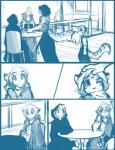 2015 adira_(twokinds) anthro blush chest_tuft cloak clothing comic cub cute feline female flora_(twokinds) fur group hair human keidran leopard maeve_(twokinds) male mammal monochrome nom outside simple_background sketch snow_leopard sound_effects tiger tom_fischbach trace_legacy tuft twokinds webcomic white_background young