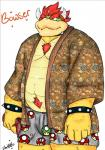 anthro bowser clothing cosmic51moon hair horn japanese_clothing kimono koopa male mario_bros musclegut muscular nintendo nude scalie simple_background slightly_chubby smile solo spikes standing underwear video_games