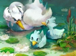 4:3 ambiguous_gender avian beak bird blue_eyes cattail_(plant) detailed_background duck ducklett feathered_wings feathers flower group hatihamu lily_pad lotus_flower nature nintendo outside plant pokémon pokémon_(species) reeds swan swanna video_games water wings young