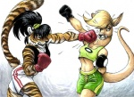 anthro black_hair blonde_hair boxing clothing duo feline female hair kangaroo knockout mammal marsupial megan_giles punch scrunchie shorts simple_background sport sweat tiger violence white_background