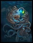 ambiguous_gender anglerfish bioluminescence canine cephalopod duo feral fish glowing hybrid mammal marine nightmare_fuel octopus tentacles underwater vera_(artist) water wolf