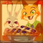 2017 anthro black_nose brown_fur canine clothed clothing disney duo female food fox fur green_eyes grey_fur judy_hopps long_ears male mammal necktie nick_wilde open_mouth open_smile orange_fur oven pie purple_eyes shirt smile yagi_(artist) zootopia