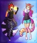 2012 4_toes 5_fingers anthro barefoot blue_eyes breasts canine cat clothed clothing digitigrade duo feline female fox hair mammal neotheta red_eyes red_hair toesRating: SafeScore: 1User: MillcoreDate: June 27, 2017