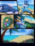 ambiguous_gender anthro beach being_watched berry bottle cloud comic confusion darkmirage detailed_background duo eeveelution featureless_crotch food forest frogadier fruit fyoshi grass hi_res lying meraence mountain multiple_scenes nature nintendo nude outside palm_tree pink_eyes pokémon pokémon_(species) sand sea seaside sky sleeping solo standing tree vaporeon video_games waking water yellow_eyes