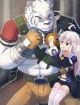 2017 abs anthro biceps big_muscles blue_eyes clothed clothing feline female fur grimoire_of_zero hair human kemono male mammal mercenary_(character) muscular muscular_male orangejuice_sei simple_background stripes tiger white_fur white_tiger zero_(character)Rating: SafeScore: 1User: Kario-xiDate: May 27, 2017