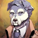 2017 anthro big_eyebrows biped brown_background brown_clothing brown_eyes brown_nose brown_theme brown_topwear canine cheek_tuft clothing digital_drawing_(artwork) digital_media_(artwork) dog dress_shirt eyewear facial_hair floppy_ears front_view frown fur gentleman glasses grey_fur grey_hair hair half-closed_eyes headshot_portrait icon inner_ear_fluff japanese kemono looking_away male mammal mature_male multicolored_fur mustache necktie nogi old open_clothing open_jacket pince-nez portrait schnauzer shirt short_hair signature simple_background solo trenchcoat tuft two_tone_fur white_clothing white_fur white_topwear