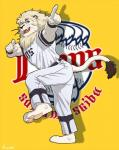 anthro baseball_uniform blue_eyes clothing dancing feline fur hair kemono leo_(saitama_seibu_lions) lion male mammal mane mascot nippon_professional_baseball pants pawpads rossciaco saitama_seibu_lions shirt simple_background smile solo teeth uniform white_fur white_hair wristband yellow_background