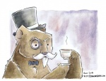 2011 anthro astolpho bear beard beverage bow_tie brown_fur coffee cup eyewear facial_hair food fur hat holding_cup male mammal monocle mustache solo tea_cup