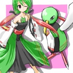 alternate_species avian beak bird clothing cosplay dress duo female feral green_hair hair human humanized long_hair low_res mammal nintendo pokémon pokémon_trainer ranphafranboise video_games xatu