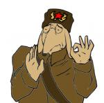 2016 clothing communism eyes_closed eyewear glasses hat highvelocityobject humor just_right leather mammal meme milaneast ok_sign pacha_(the_emperor's_new_groove) papacha politics russia russian sash simple_background solo soviet_union sovietwomble star the_wombles trenchcoat white_background womble youtube