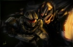 2013 alien armor claws dark_theme gun halo_(series) hi_res human icedragonhawk male mammal master_chief night promethean ranged_weapon signature spartan standing video_games weapon
