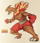 2017 3_toes alternate_color angry anthro anthrofied biceps biped boxing_gloves bracelet brown_horn brown_skin brown_tail claws clothed clothing dinosaur english_text fakémon fighting_stance fire firefightdex fist flaming_mane foreshortening full-length_portrait gloves green_eyes hatching_(technique) hi_res horn humanoid_hands jewelry leaning leaning_forward long_neck male mane meganium mfanjul muscular muscular_male nintendo open_mouth pecs pen_(artwork) pink_tongue pokémon pokémon_(species) pokémorph portrait raised_heel red_bottomwear red_clothing sauropod scalie shadow shorts side_view simple_background solo spiked_bracelet spikes standing text toe_claws toes tongue toony topless traditional_media_(artwork) uniform video_games white_background white_claws