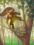 buckteeth claws daniel_ljunggren feral forest jumping looking_at_viewer magic_the_gathering mammal nest official_art rodent signature squirrel teeth tree whiskers