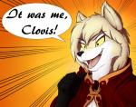 ambiguous_gender anthro canine cape clothing clovis_(twokinds) dialogue dio_brando english_text fox fur gem gloves_(marking) gradient_background hair hi_res hybrid infinitedge2u jojo's_bizarre_adventure keidran mammal markings meme open_mouth orange_background parody pointing_at_self reaction_image red_eyes robe ruby_(gem) sharp_teeth simple_background smile solo teeth text tongue twokinds webcomic white_fur wolf yellow_sclera