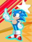 2016 5_fingers absurd_res anthro big_eyes big_head black_nose blue_fur fur hand_on_hip hedgehog hi_res jaynatorburudragon male mammal mostly_nude outline raised_index_finger smile sneakers solo sonic_(series) sonic_the_hedgehog standing toony white_gloves