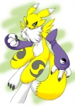action_pose anthro black_sclera blue_eyes canine chest_tuft claws clothing digimon facial_markings female fur gloves kitsune_netsuki mammal markings navel pose renamon running soft solo tuft white_fur yellow_fur
