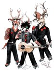 anthro antlers black_hair black_nose brown_eyes brown_fur brown_hair cervine clothed clothing deer fur green_eyes greenday group guitar hair hooves horn male mammal microphone musical_instrument necktie open_mouth pants parody playing_guitar playing_music rimpala shirt signature simple_background tongue white_background