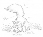 2011 ambiguous_gender ass_up canine conditional_dnp eyes_closed falling_leaves feral fluffy fluffy_tail fox grass greyscale inner_ear_fluff lying male mammal monochrome on_front scared sketch solo tani_da_real wind
