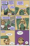 2017 alligator angie_(study_partners) anthro clothed clothing comic crocodilian english_text exercise fangs female green_eyes mammal mustelid otter reptile sarah_(study_partners) scalie shocked speech_bubble study_partners teeth text thunderouserections tongue tongue_out weightlifting weights workout young