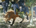 ambiguous_gender black_fur black_nose canine carl_brenders claws feral food fox frown fruit fur grapes mammal nature orange_eyes orange_fur outside photorealism solo