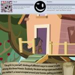 <3 animated apple apple_tree bitterplaguerat earth_pony equine food fruit horse lasso loki_(bitterplaguerat) mammal my_little_pony pony pouch text tree tree_houseRating: SafeScore: -4User: Aryanne_HooflerDate: April 25, 2017