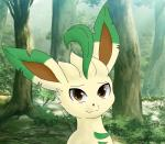 ambiguous_gender brown_eyes datsato eeveelution grass leafeon nature nintendo pokémon smile tree video_games