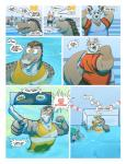 2018 ambiguous_gender anthro chameli clothed clothing comic crocodile crocodilian dialogue duo_focus english_text female fully_clothed group hair inside male mammal mustelid otter reptile ritts scalie sharp_teeth solo_focus speech_bubble sport swimsuit teeth text water water_polo