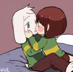 2016 ambiguous_gender anthro asriel_dreemurr bed blush boss_monster brown_hair brown_pants caprine chara_(undertale) child clothed clothing cub duo eyes_closed fur goat green_eyes hair hands_on_cheeks human kissing long_ears male mammal rie_(artist) short_hair simple_background undertale video_games white_fur young